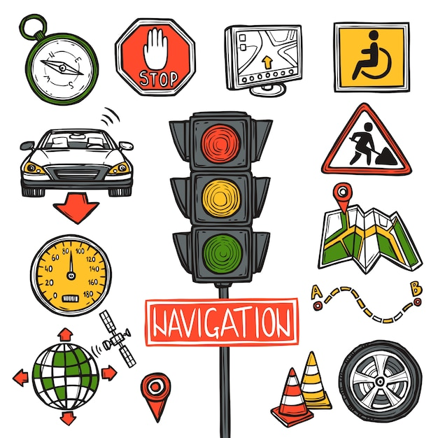 Navigation icons sketch Free Vector