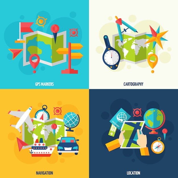 Navigation and location flat icon set Free Vector
