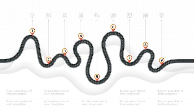 Navigation map info steps timeline Premium Vector
