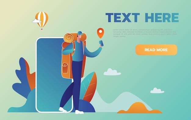 Навигация на вашем смартфоне. туриста проводят в незнакомом месте с помощью телефона помощи. мультяшном стиле Premium векторы