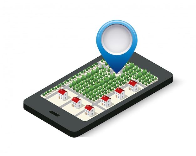 Navigation sign and pin Premium Vector
