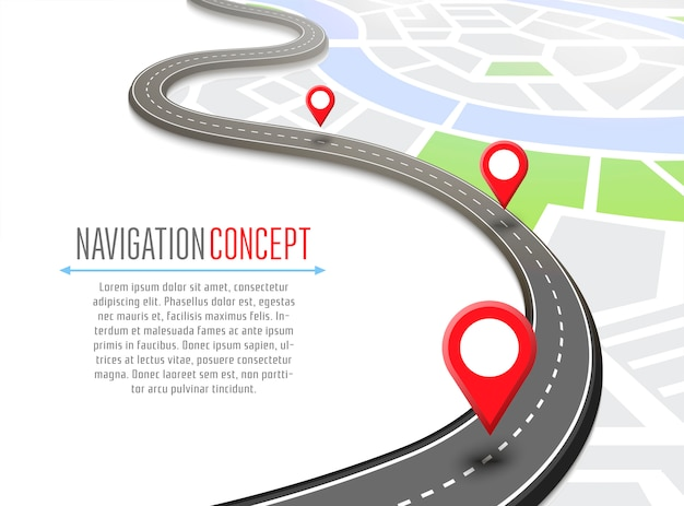 Navigation  with pin pointer Premium Vector