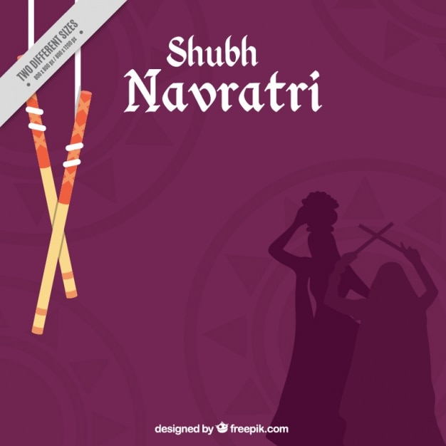 Greeting card of navratri festival vector free download navratri background with silhouettes stopboris Image collections