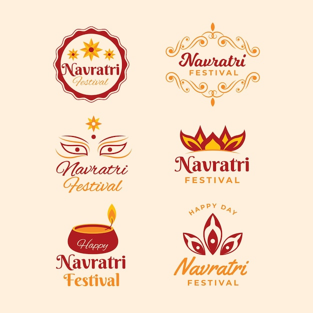 Navratri badges collection Premium Vector