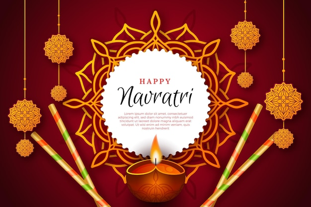 Navratri realistic traditional background Free Vector
