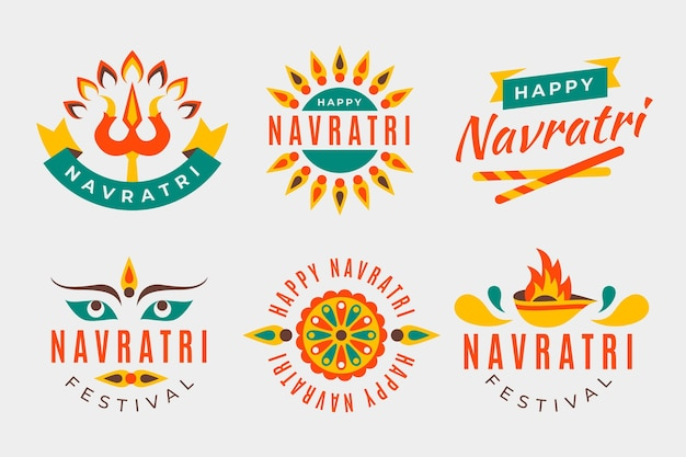 Navratri traditional labels collection Free Vector