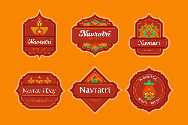 Navratri traditional labels pack Free Vector