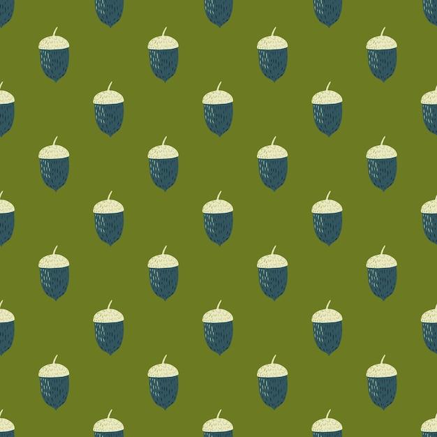 紺と白のどんぐり飾りシームレスパターン。緑の背景。秋のプリント。包装紙や布のテクスチャのグラフィックデザイン。 Premiumベクター