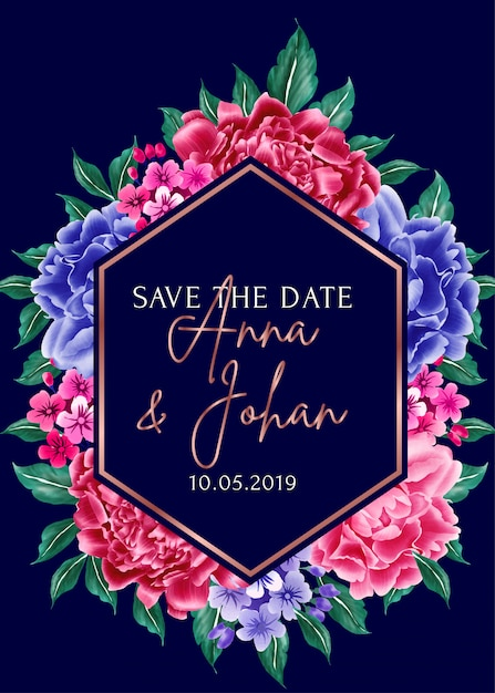 Navy blue background peony flower save the date. Premium Vector