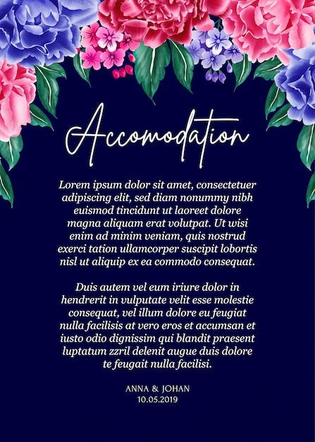 Navy Blue Background Peony Flower Wedding Invitation Card