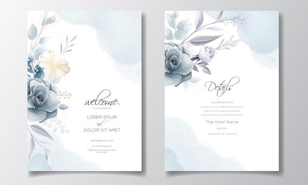 Темно-синий цветочный шаблон свадебные приглашения с золотыми листьями и акварель Premium векторы