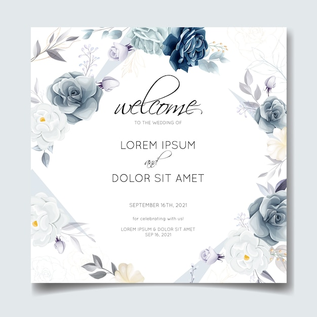 Navy blue floral wedding invitation card template with golden leaves and watercolor frame Premium Vector