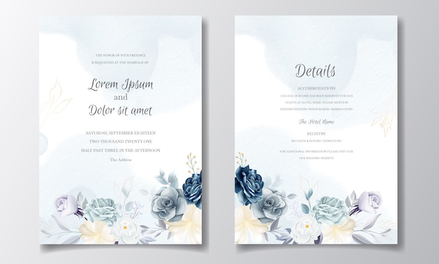 Navy blue floral wedding invitation card template with golden leaves and watercolor Premium Vector