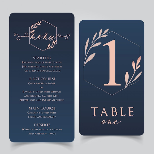 Navy blue and rose gold wedding food menu with table numbers Premium Vector
