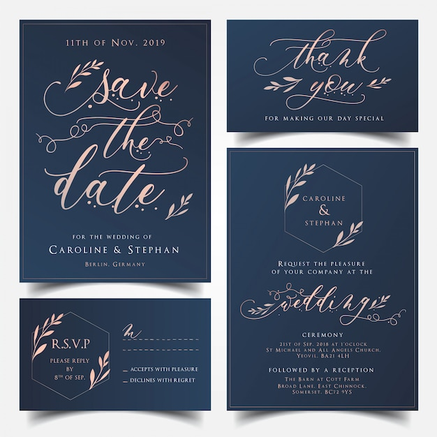 navy blue wedding reception decorations.htm navy blue and rose gold wedding invitation card  save the date  rose gold wedding invitation card