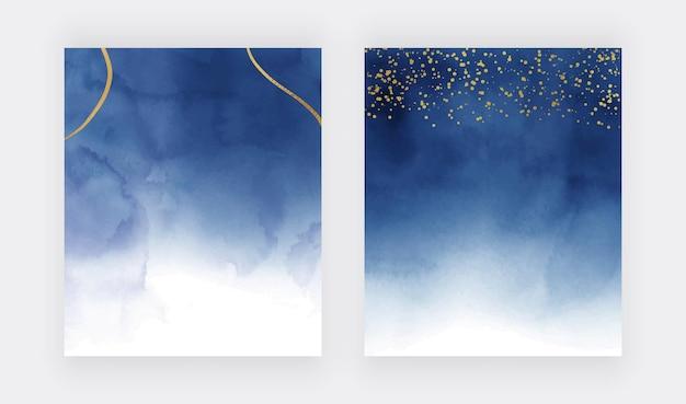 Темно-синяя акварельная текстура с золотым конфетти и линиями Premium векторы