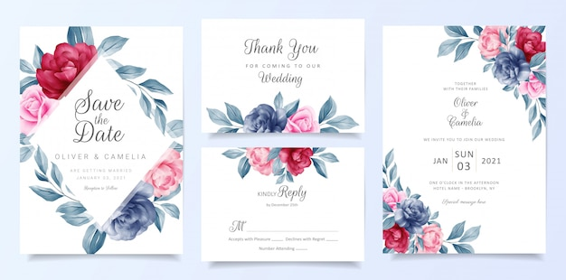 Navy blue wedding invitation card template set with floral frame and decoration Premium Vector