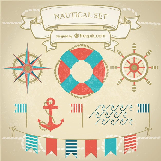 Navy elements with anchor, waves and garlands Free Vector