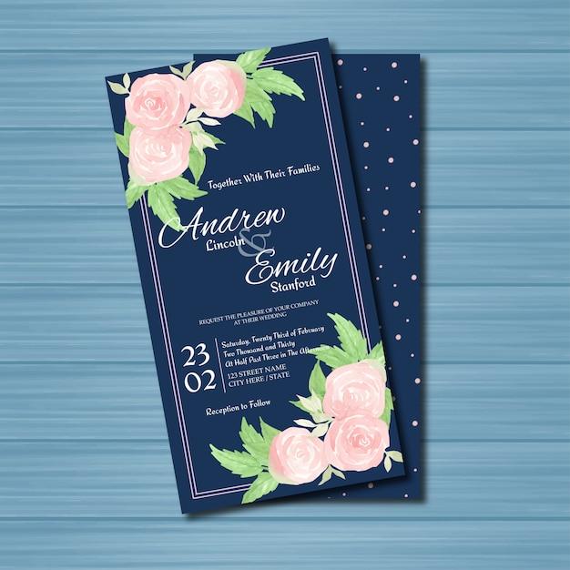 Приглашение на свадьбу в цветочек с розовыми розами Premium векторы
