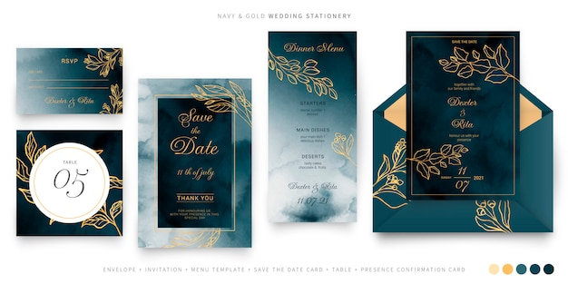 Navy and gold wedding stationery template Free Vector