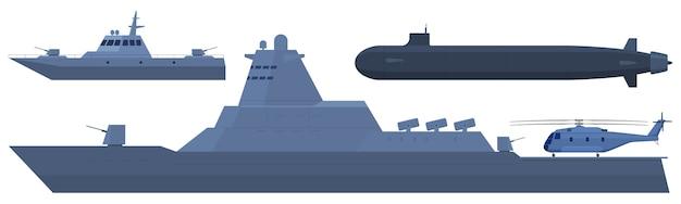 海軍、ヘリ空母、警備船、潜水艦。 Premiumベクター