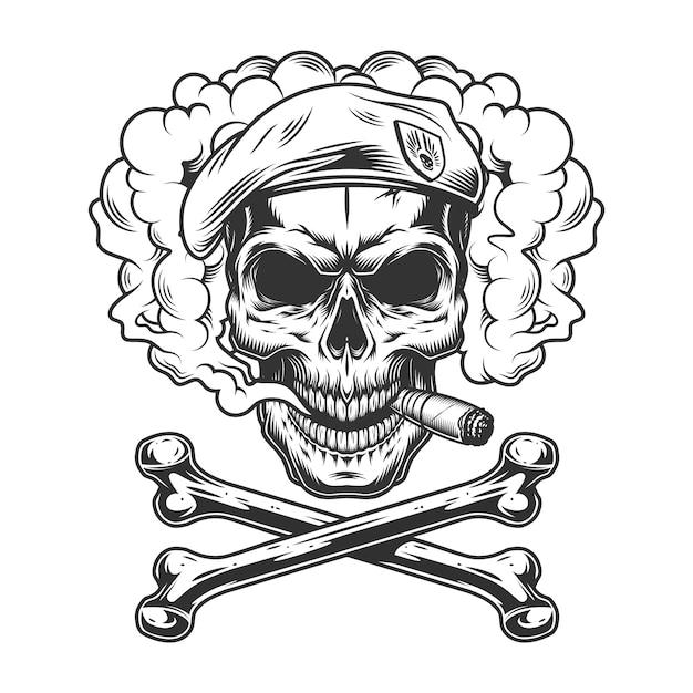 Navy seal skull wearing beret and smoking cigar Free Vector