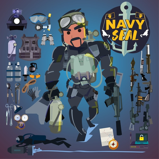 Navy seal soldier with gear, weapon and equipment set. Premium Vector