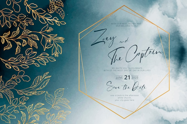 Navy Wedding Invitation With Golden Frame And Leaves Free Vector