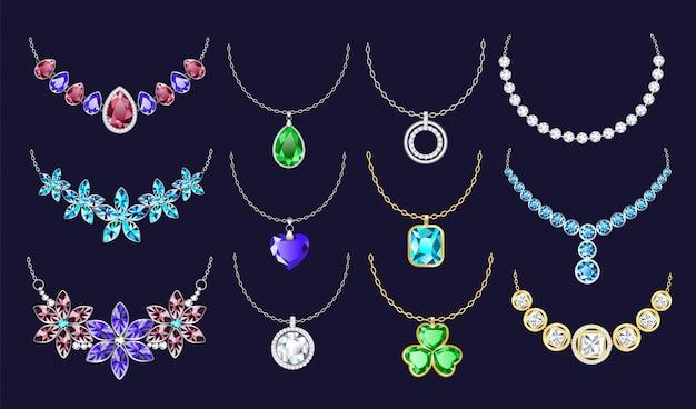 Necklace icon set, realistic style Premium Vector