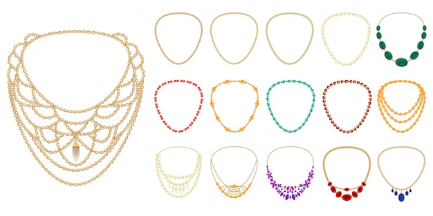 Necklace icon set Premium Vector