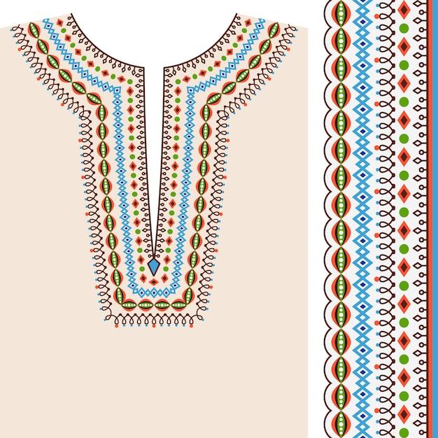 Neckline ethnic print design Premium Vector