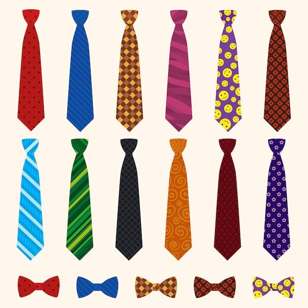 Necktie icon set. Premium Vector