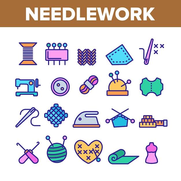 Needlework elements icons set Premium Vector
