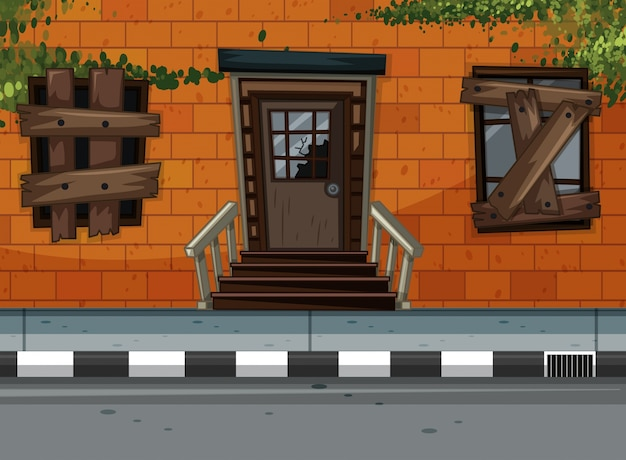 Neighborhood scene with ruined building along the road Free Vector