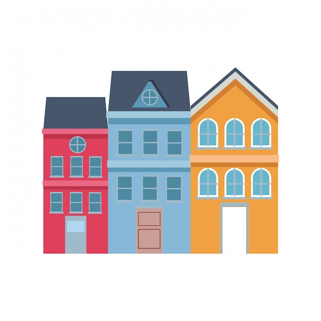 Neighbors house modern Premium Vector