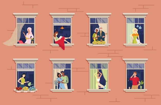 Соседи в окне. общение с соседями. различные аспекты жизни соседей, видимые через окна. Premium векторы