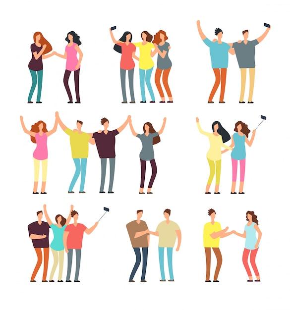 Neighbors men and women characters. friends groups. good neighborhood vector cartoon friendly people set Premium Vector