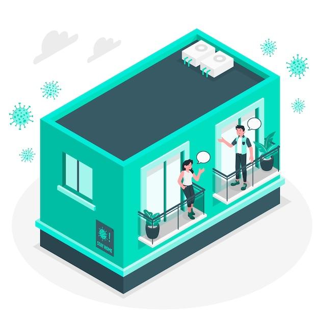 Соседи на балконе / иллюстрации концепции окон Бесплатные векторы