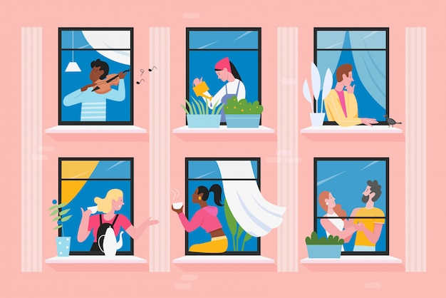 家の窓のイラスト、漫画フラット男性女性キャラクターの隣人、コミュニケーション、バイオリンの演奏、鳥の餌やり Premiumベクター