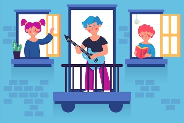 I vicini trascorrono del tempo su finestre e balconi Vettore gratuito