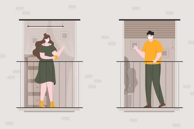 Соседи разговаривают на балконах Бесплатные векторы