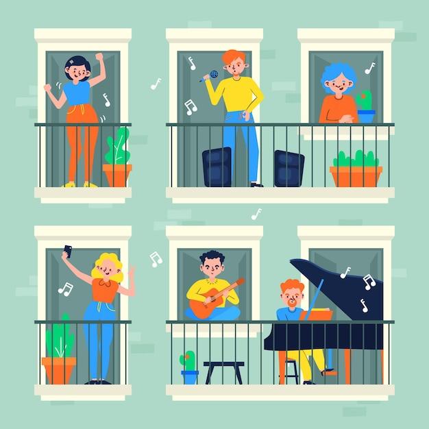 I vicini sui balconi in quarantena Vettore gratuito