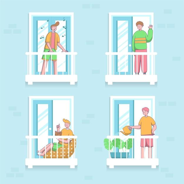 Соседи по концепции балконов Бесплатные векторы