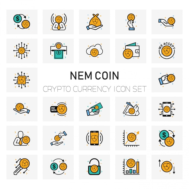 Nem coin crypto currency icons set Premium Vector