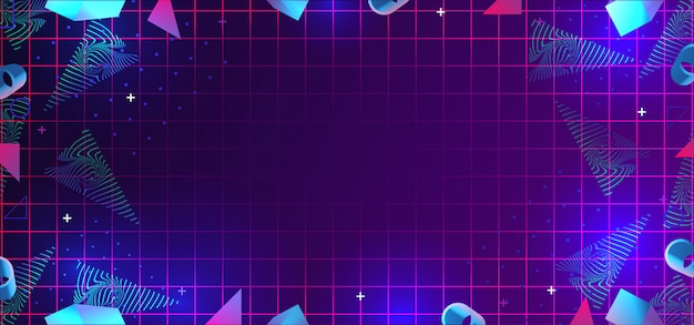 Neo memphis abstract background with 80s geometric elements decoration Premium Vector