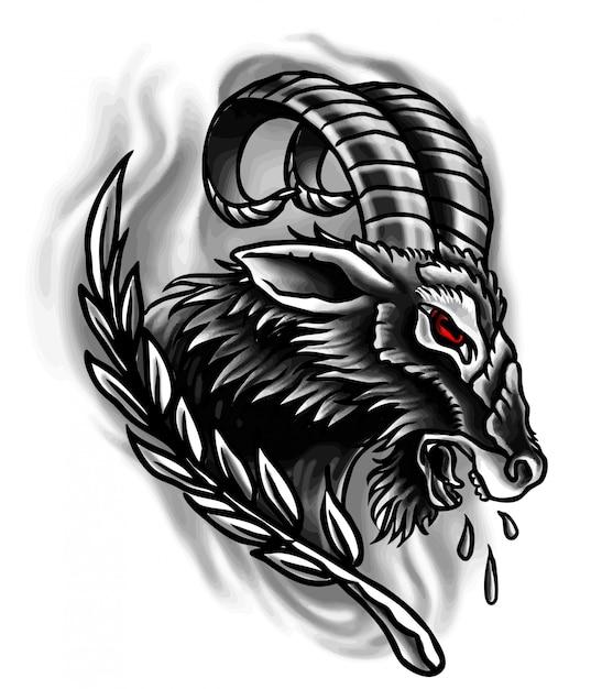 Neo traditional goat tattoo flash Vector   Premium Download