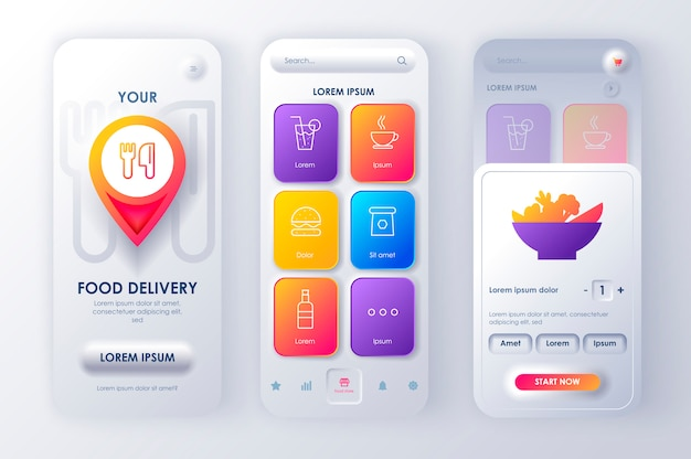 Neomorphic mobile app ui ux kit delivery food unique neomorphism style. Premium Vector