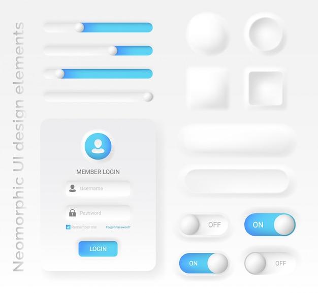 Неоморфный или неоморфизм элементы стиля дизайна, Premium векторы