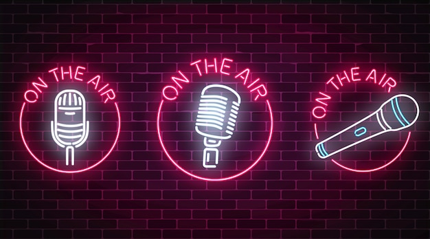 Neon on the air signs set with microphones symbols in round frames Premium Vector