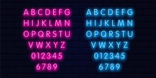 Neon alphabet letters vector art Premium Vector